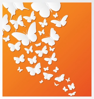 Butterfly design on orange background