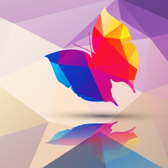 Butterfly made of polygons background
