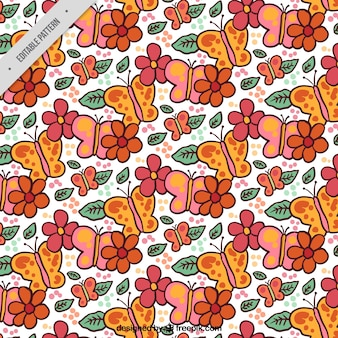 Butterfly pattern with decorative flowers