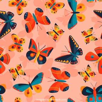 Butterfly pattern with pink background