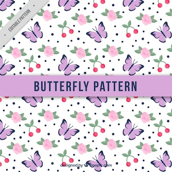 Butterfly pattern with roses and cherry
