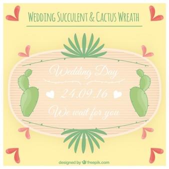 Cactus wreath wedding invitation