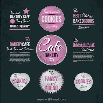 Cafe and bakery vintage stickers