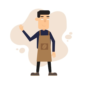 Cafe teria employee character
