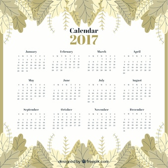 Calendar 2017 of leaves in vintage style