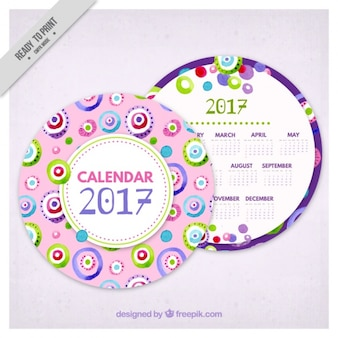 Calendar 2017 of watercolor circles