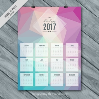 Calendar 2017 template with polygonal shapes