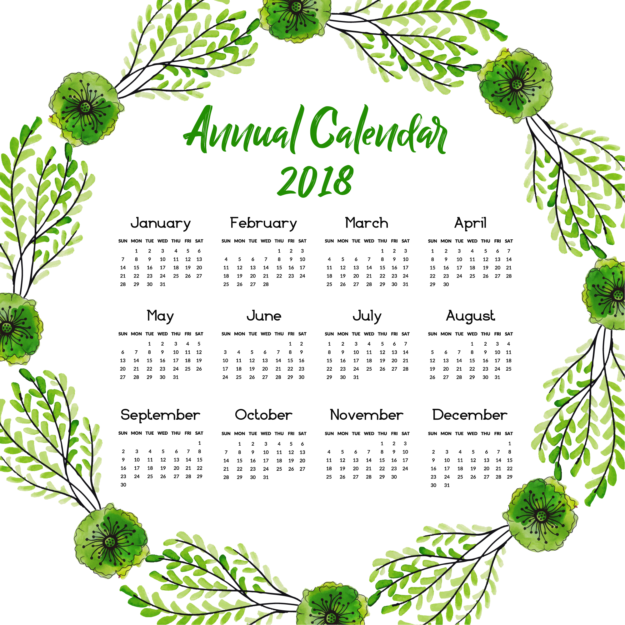 Calendar 2018 with green leaves