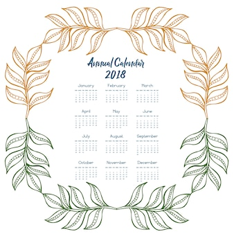 Calendar 2018 with multicolor leaves