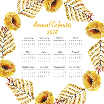 Calendar 2018 with yellow flowers