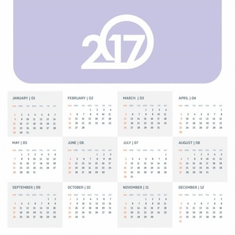 Calendar for the year 2017 with a purple tab