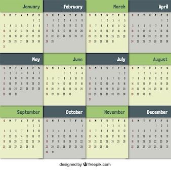 Calendar in green tones