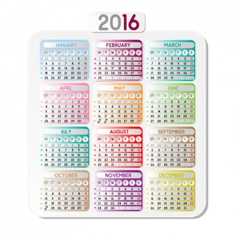 Calendar of 2016 with colorful squares