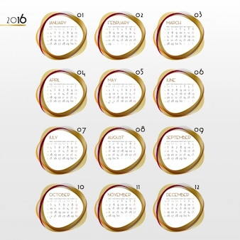 Calendar of 2016 with golden circular shapes