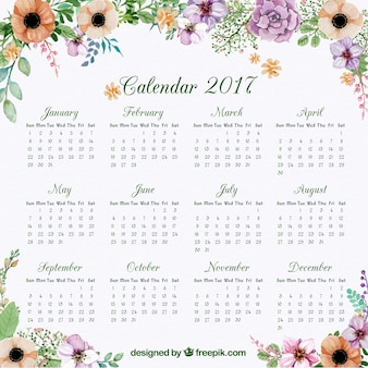 Calendar of 2017 with floral watercolor decoration