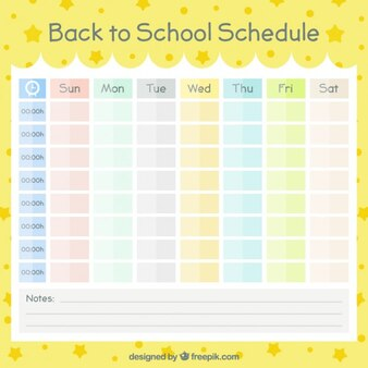 Calendar organized by colors for back to school