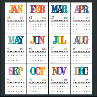 Calendar template with colorful letters