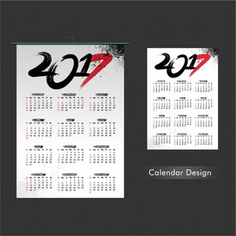 Calendar template with red details