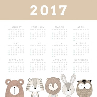 Calendar with a hand drawn animals