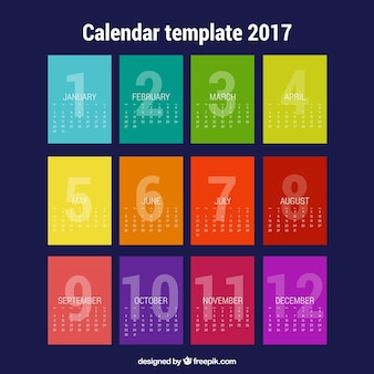 Calendar with colorful months