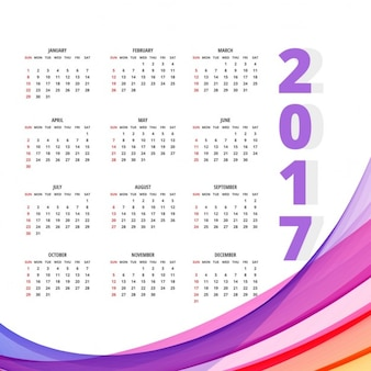 Calendar with full color wavy shapes