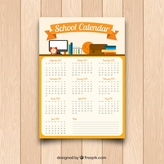 Calendar with school material in flat design