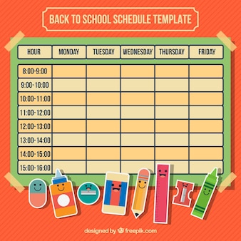 Calendar with school supplies for back to school