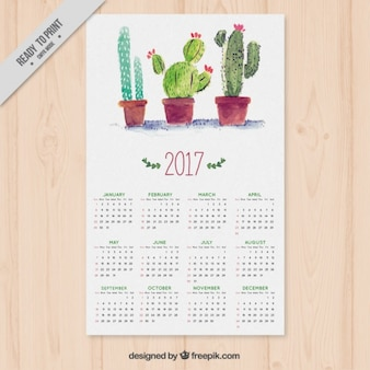 Calendar with watercolor cactus