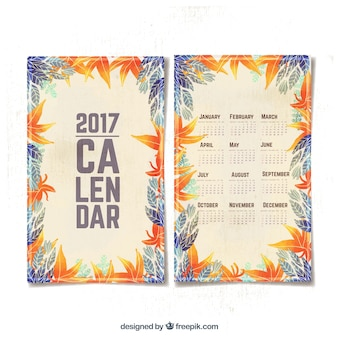 Calendar with watercolor leaves