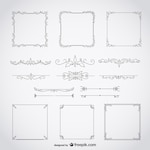 Calligraphic frames decorative floral set