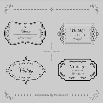 Calligraphic frames retro vector set