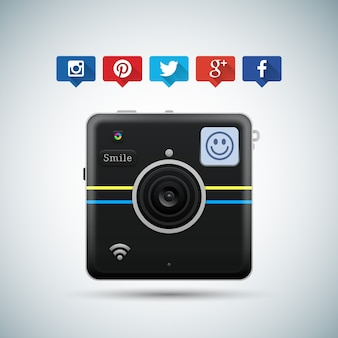 Camera button for social networks
