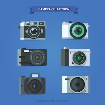 Camera collection flat design