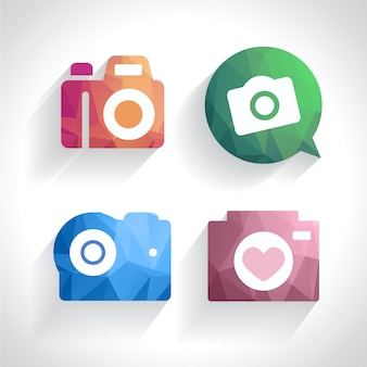 Camera icons with polygons