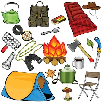 Camping elements, cartoon