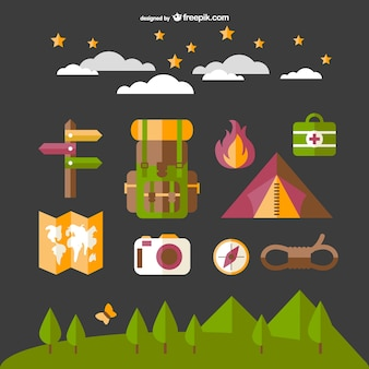 Camping elements set with map, fire and tent