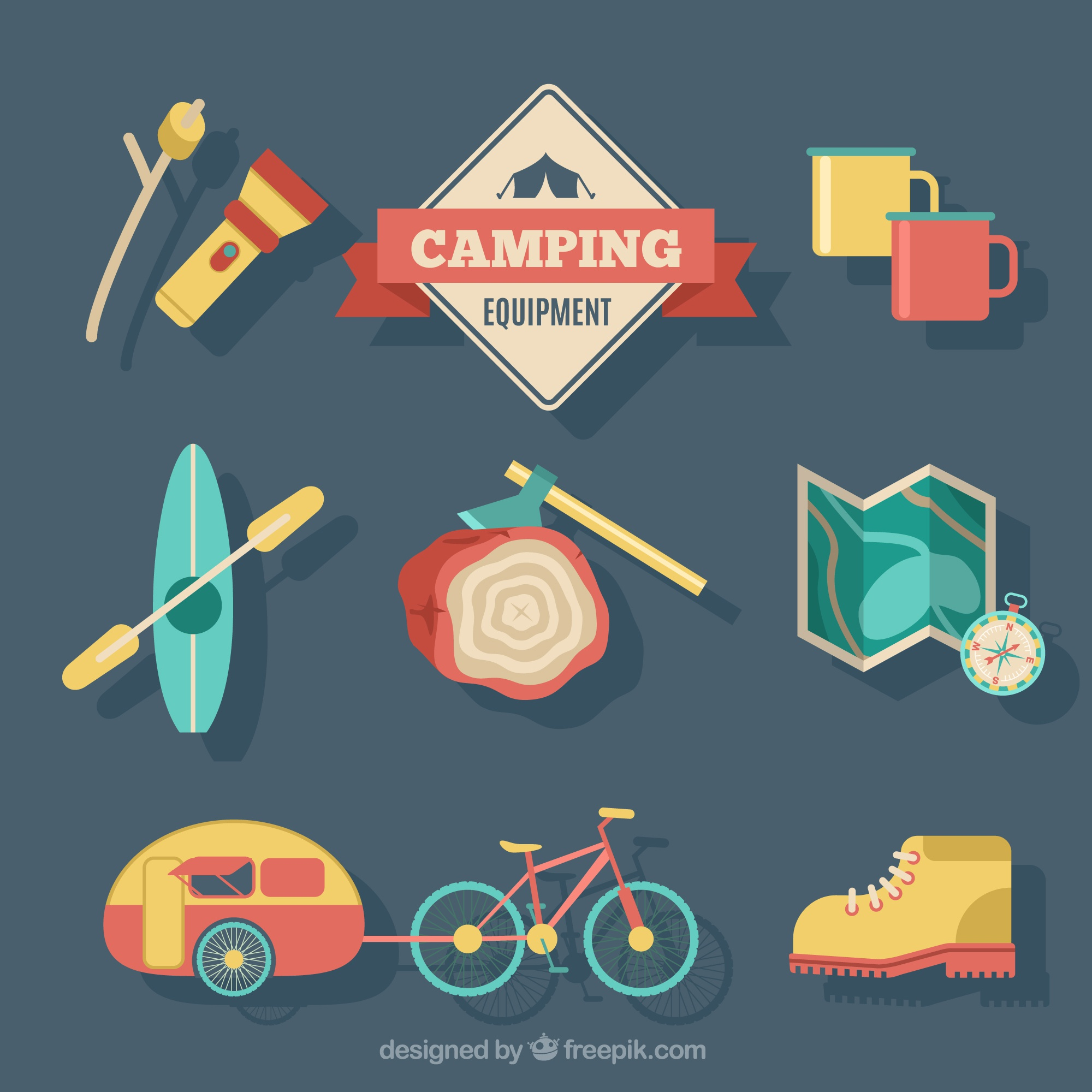 Camping equipment collection in three colors