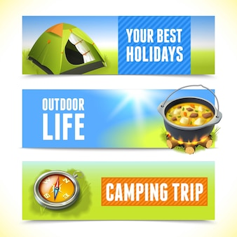 Camping horizontal banners