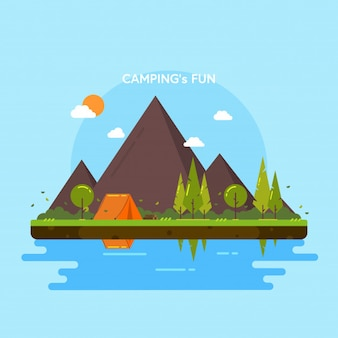 Camping's fun. Mountains, forest, trees, lakes, tent and more. Vector Illustration.