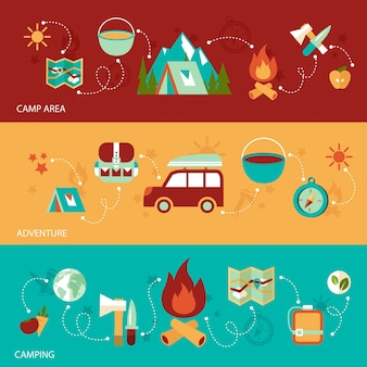 Camping summer outdoor activity flat banner set with camp area adventure isolated vector illustration
