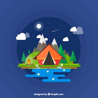 Camping tent in a wonderful night