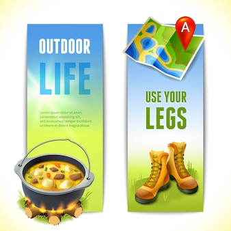Camping vertical banners