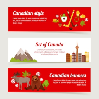 Canada colored horizontal banner set with sport animals architecture isolated vector illustration