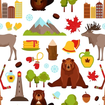 Canada colored seamless pattern with hockey maple syrup beaver vector illustration