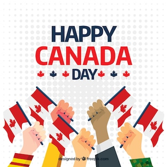 Canada day background of hands with flags