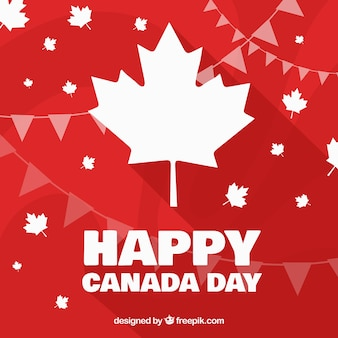 Canada day background with abstract shapes and garlands