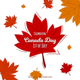 Canada day background with autumn leaves