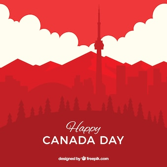 Canada day background with cityscape
