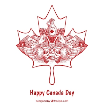 Canada day background with hand-drawn traditional elements