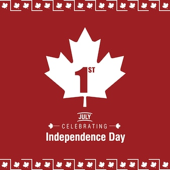 Canada day design on red background